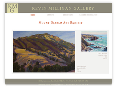 Kevin Milligan Gallery Web Site Design
