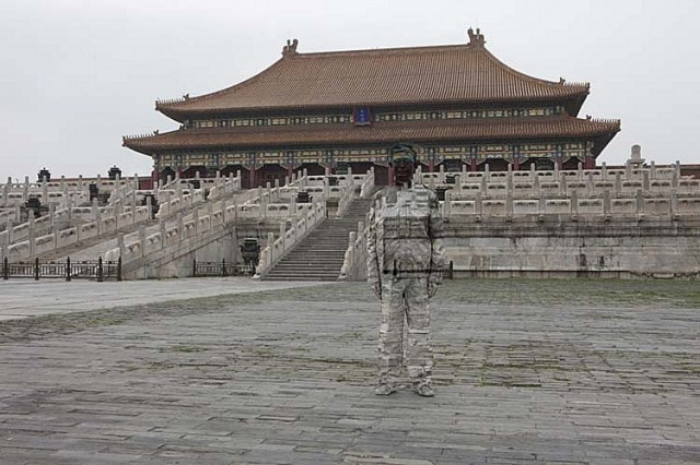 Temple and the Chinese chameleon and invisible man Liu Bolin City Camouflage