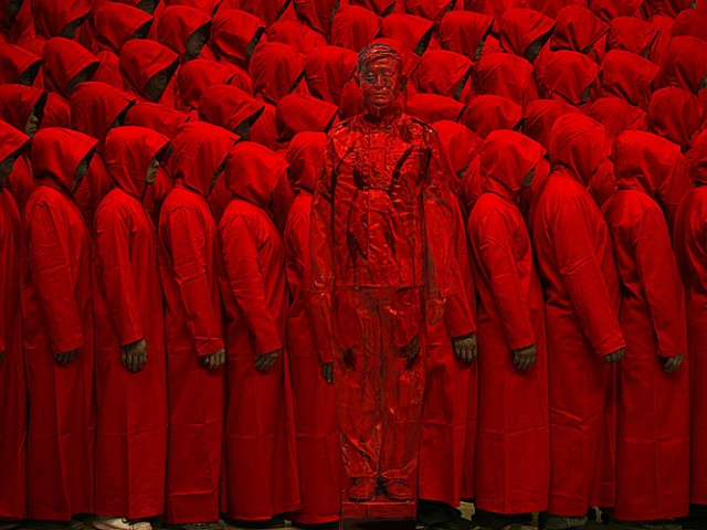 Monks and the Chinese chameleon and invisible man Liu Bolin City Camouflage